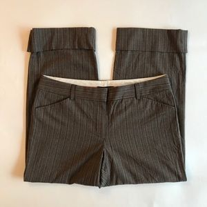 Elie Tahari Cropped Houndstooth Wool Pants Brown 8